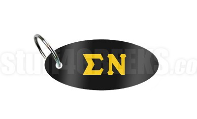 Sigma Nu Key Chain with Greek Letters, Black