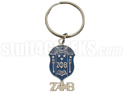 "Zeta Phi Beta 1.5"" Metal Shield Key Chain with Greek Letters, Full Color"