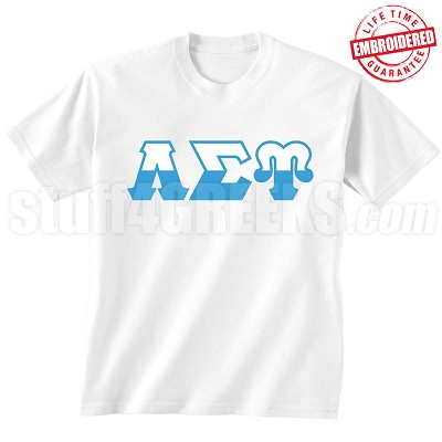 Lambda Sigma Upsilon Half Letters T-Shirt, White - EMBROIDERED with Lifetime Guarantee