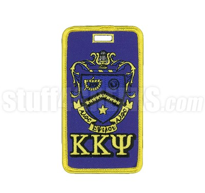 Kappa Kappa Psi Embroidered Luggage Tag with Sheild and Greek Letters, Full Color