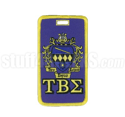 Tau Beta Sigma Embroidered Luggage Tag with Sheild and Greek Letters, Full Color
