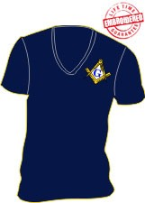 Mason V-Neck T-Shirt, Navy Blue - EMBROIDERED with Lifetime Guarantee