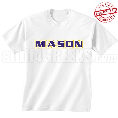 MASON Triple-Layered Letters T-Shirt, White - EMBROIDERED with Lifetime Guarantee