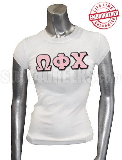 Omega Phi Chi Greek Letter T-Shirt, White - EMBROIDERED with Lifetime Guarantee