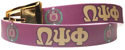 Omega Psi Phi Full -Color Belt with Letters and Crest, Purple/Old Gold (C4)