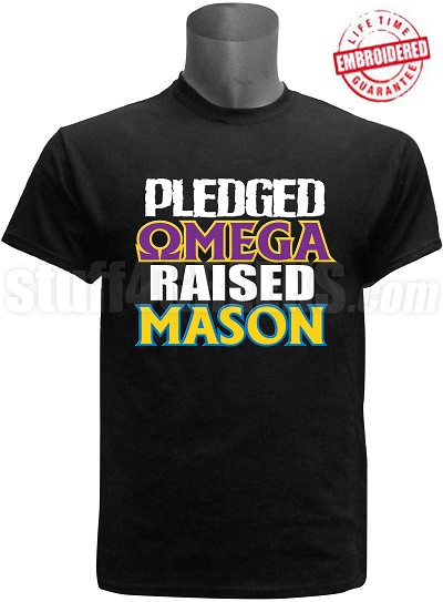 Omega Psi Phi Raised Mason T-Shirt, Black - EMBROIDERED with Lifetime Guarantee