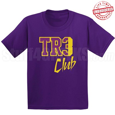 Tre Club T-Shirt, Purple/Old Gold - EMBROIDERED with Lifetime Guarantee