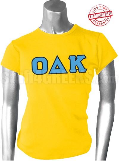 Omicron Delta Kappa Ladies Greek Letter T-Shirt, Gold -EMBROIDERED with Lifetime Guarantee