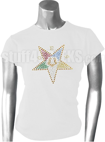 Order of the Eastern Metallic Stone Stud T-Shirt with Fatal Star, White