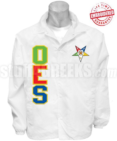 "Deluxe Order of the Eastern Star Line Jacket with Fatal Star and ""Mother of All"" Back, White (Includes Front, Sleeve Text, and Back)"