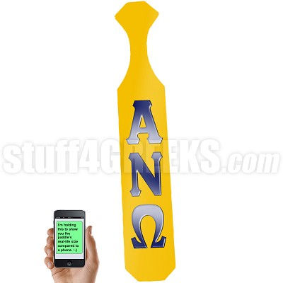 Alpha Nu Omega Paddle with Glossy Gold Wood and Reflective Navy Blue Letters
