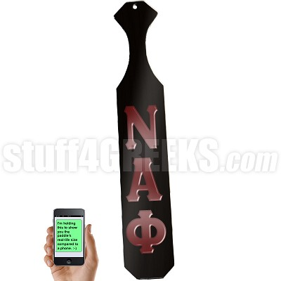 Nu Alpha Phi Greek Letter Paddle with Black Glossy Wood