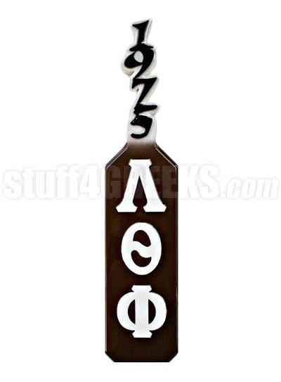 Lambda Theta Phi Paddle with 1975 Handle and Greek Letters, Brown