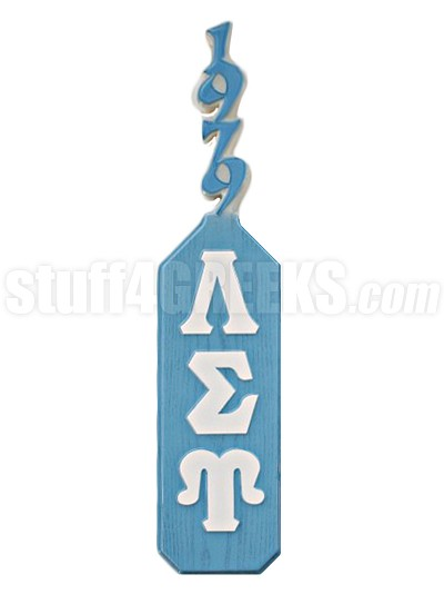 Lambda Sigma Upsilon Paddle with Greek Letters and Founding Year Handle, Light Bue