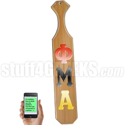 Phi Mu Alpha Greek Letter Paddle with Glossy Wood