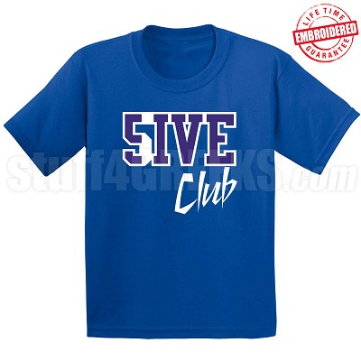 5/Five Club T-Shirt, Royal/White - EMBROIDERED with Lifetime Guarantee