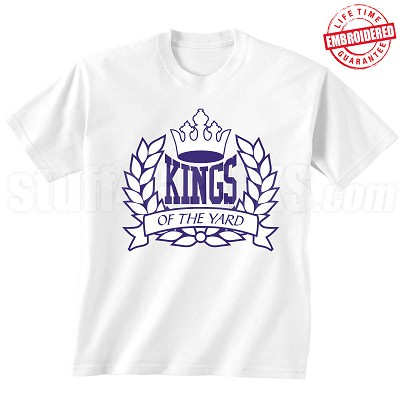 Kings of the Yard T-Shirt, White/Royal - EMBROIDERED with Lifetime Guarantee