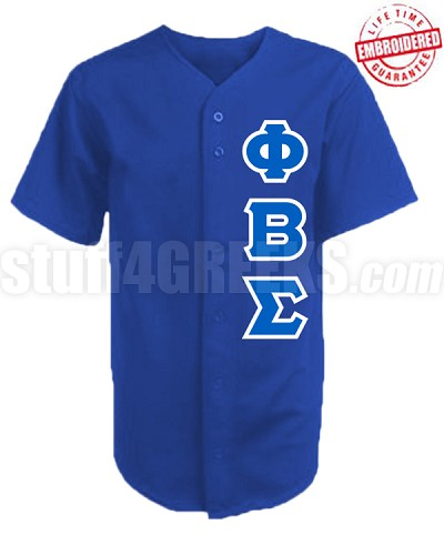 Phi Beta Sigma Greek Letter Cloth Baseball Jersey, Royal Blue (AG1680) - EMBROIDERED WITH LIFETIME GUARANTEE