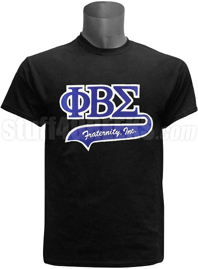 Phi Beta Sigma Greek Letter Tail Patch T-Shirt, Black (NS)