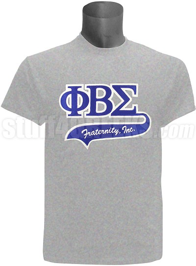 Phi Beta Sigma Greek Letter Tail Patch T-Shirt, Grey (NS)