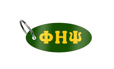 Phi Eta Psi Key Chain with Greek Letters, Kelly Green