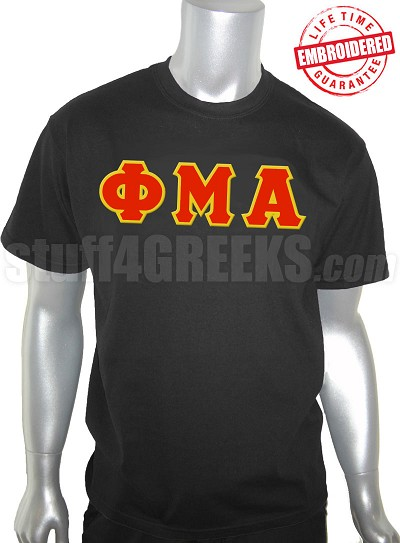 Phi Mu Alpha Greek Letter T-Shirt, Black - EMBROIDERED with Lifetime Guarantee
