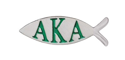"Alpha Kappa Alpha 1"" Fish Lapel Pin with Greek Letters, Silver"
