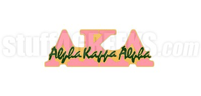 "Alpha Kappa Alpha 1"" Signature Lapel Pin with Greek Letters, Pink/Green"