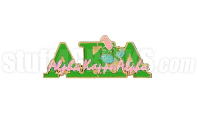 "Alpha Kappa Alpha 1"" Signature Greek Letter New Image Lapel Pin with Rose, Green"