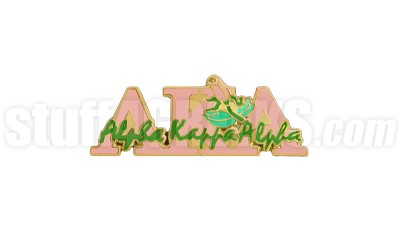 "Alpha Kappa Alpha 1"" Signature Greek Letter New Image Lapel Pin with Rose, Pink"