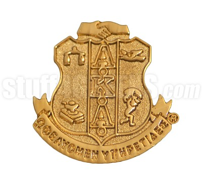"Alpha Kappa Alpha 0.875"" Sandblast Shield Lapel Pin, Gold"