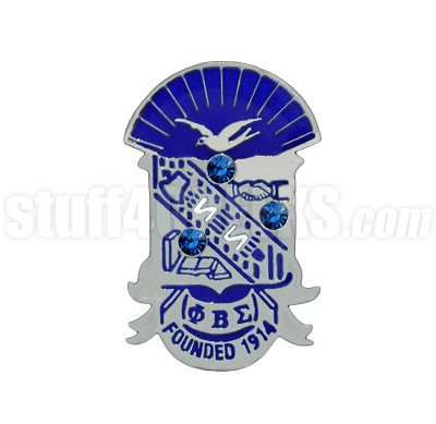 "Phi Beta Sigma 1"" Crest Lapel Pin with Swarovski Austrian Crystals"