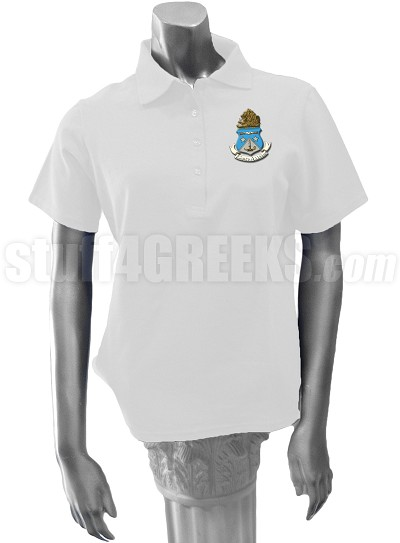 Alpha Delta Pi Polo Shirt with Crest, White
