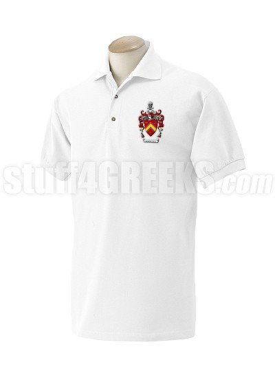 Alpha Gamma Kappa Polo Shirt with Crest, White