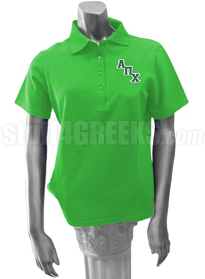 Alpha Pi Chi Polo Shirt with Logo Letters, Kelly Green