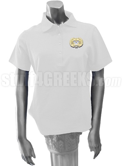 Alpha Psi Omega Ladies' Polo Shirt with Crest, White