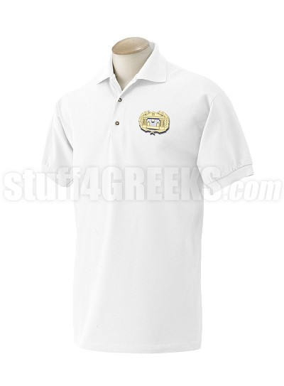 Alpha Psi Omega Men's Polo Shirt with Crest, White