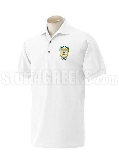 Alpha Psi Rho Polo Shirt with Crest, White