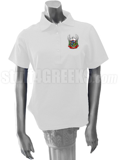 Alpha Sigma Rho Polo Shirt with Crest, White