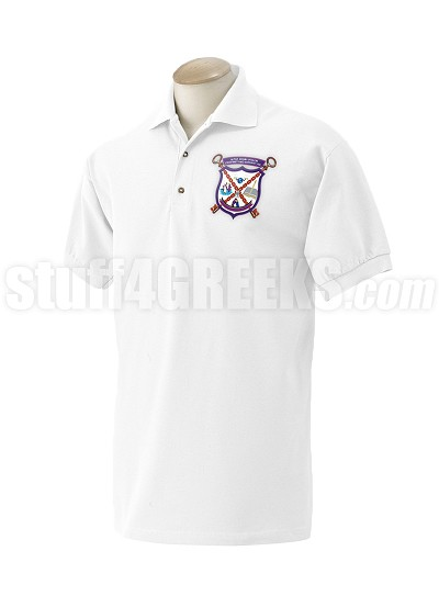 Alpha Sigma Upsilon Men's Polo Shirt with Crest, White