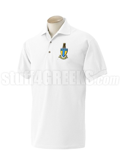 Alpha Tau Omega Polo Shirt with Crest, White