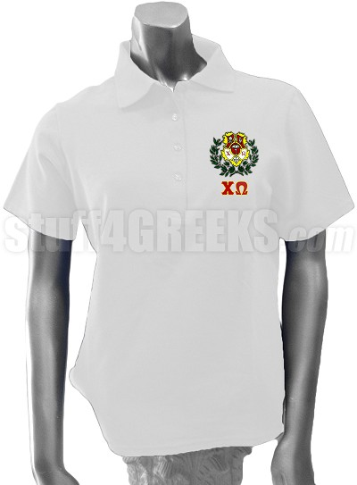 Chi Omega Polo with Greek Letters and Crest, White