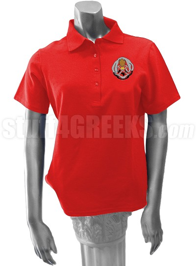 Chi Phi Sigma Polo Shirt with Crest, Red