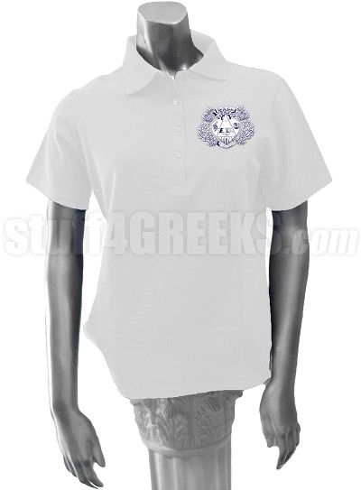 Delta Phi Lambda Polo Shirt with Crest, White