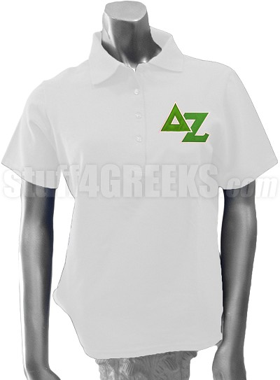 Delta Zeta Polo with Greek Letters and Crest, White