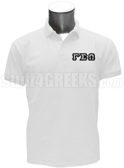 Gamma Sigma Omega Polo Shirt with Greek Letters, White