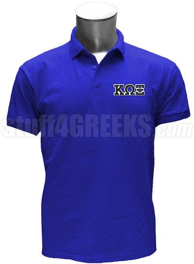 Kappa Omega Xi Polo Shirt with Greek Letters, Royal Blue