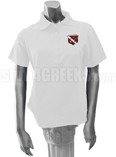 Nu Zeta Phi Polo Shirt with Crest, White
