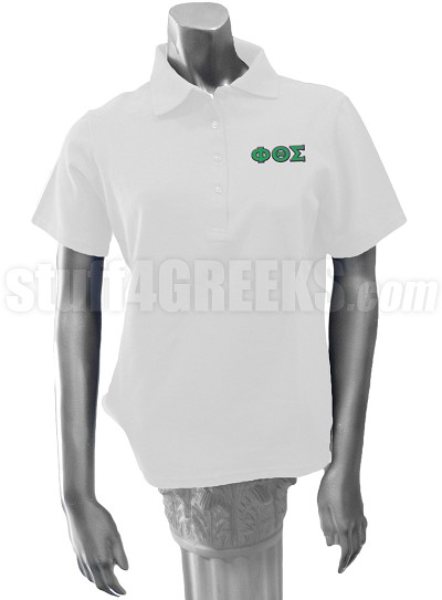 Phi Theta Sigma Polo Shirt with Greek Letters, White
