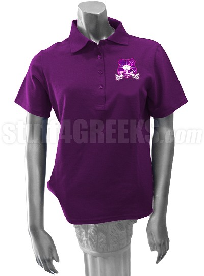 T.R.I. - C. Polo Shirt with Crest, Purple